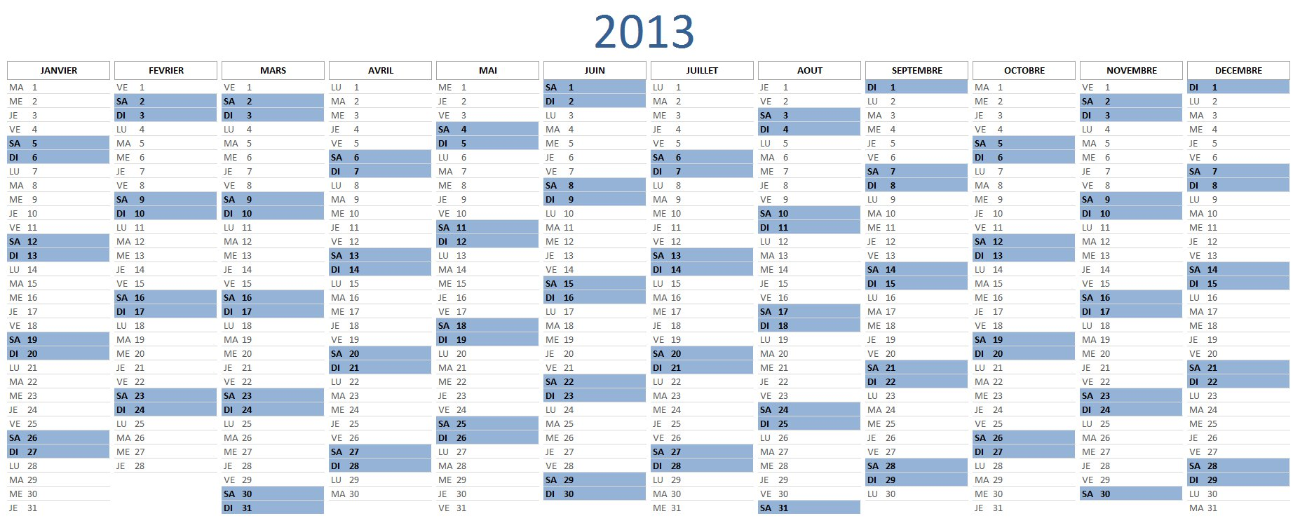 calendrier 2013 excel t l charger gratuitement. Black Bedroom Furniture Sets. Home Design Ideas