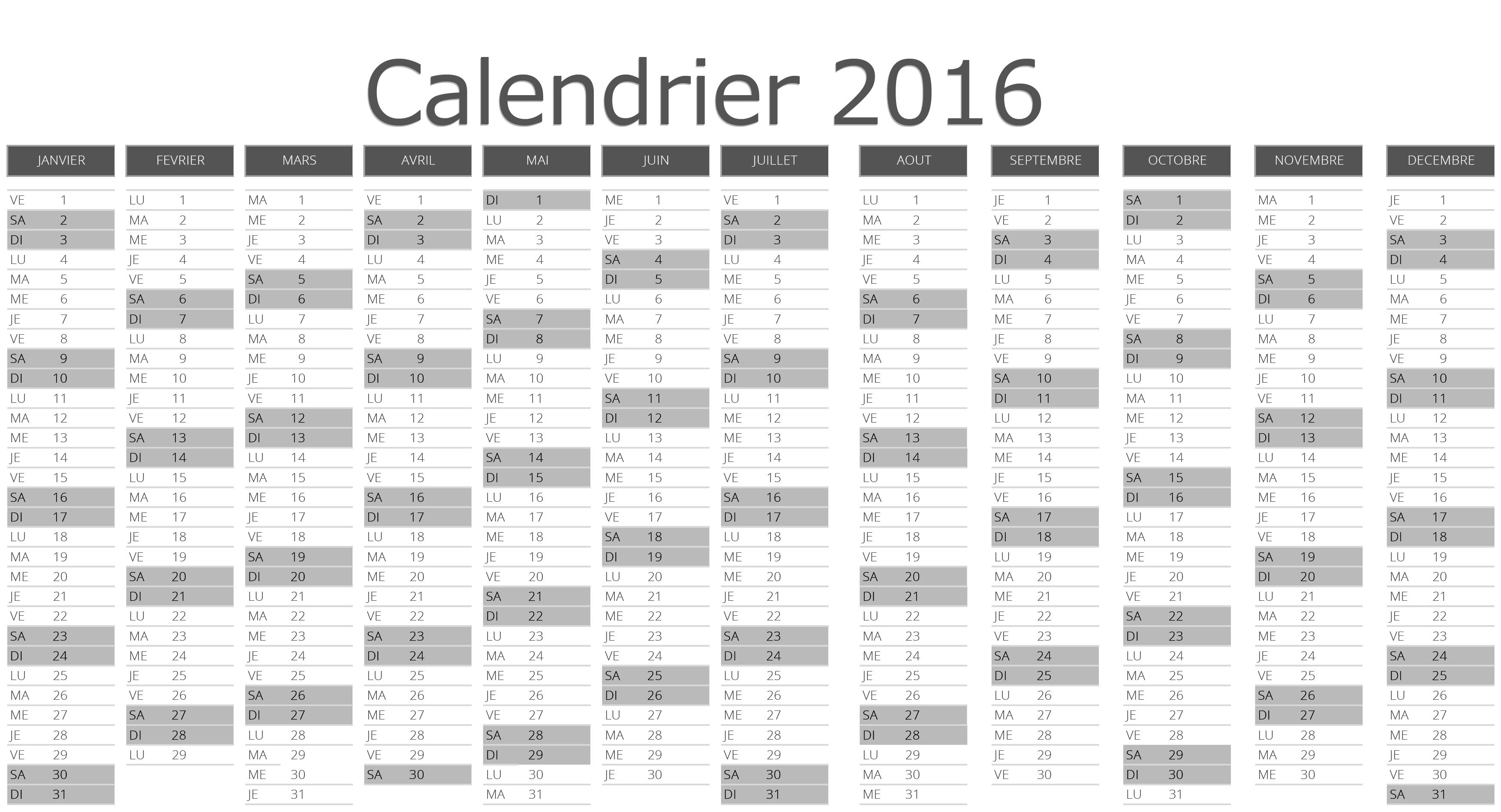 App Planner Calendrier 2016 Excel Et Pdf 224 T 233 L 233 Charger Et Imprimer