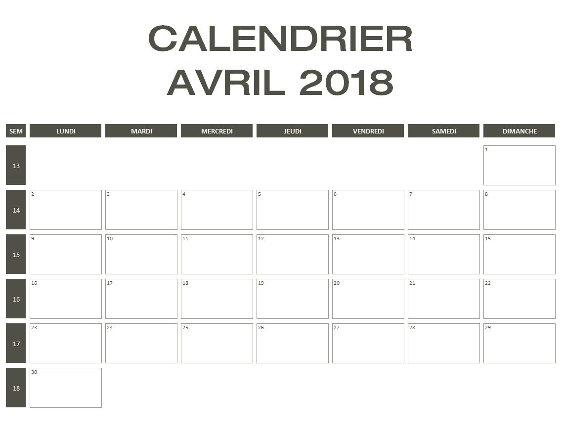 Souvent Calendrier 2018 Excel & PDF à télécharger gratuitement HR39