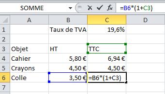 Erreur dans la formule Excel