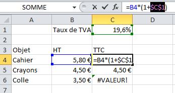 Fixer une formule sur Excel