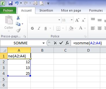 Fonction somme sur Excel