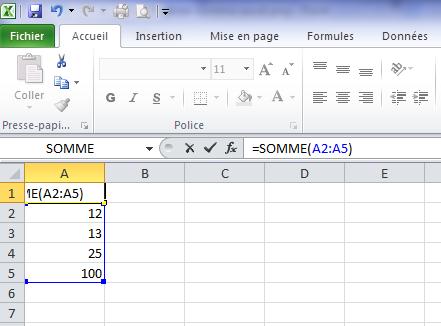 Modifier une somme sur Excel
