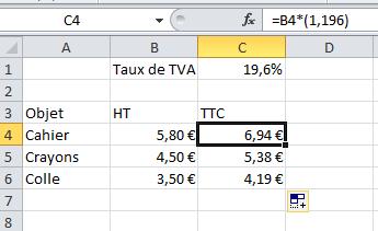 Excel - Taux de TVA