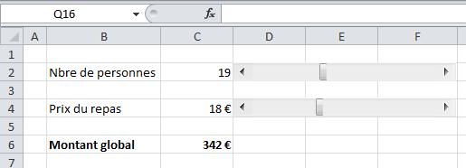 Curseur dans une feuille Excel