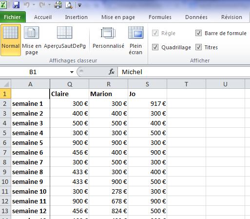 Colonne figée sur Excel
