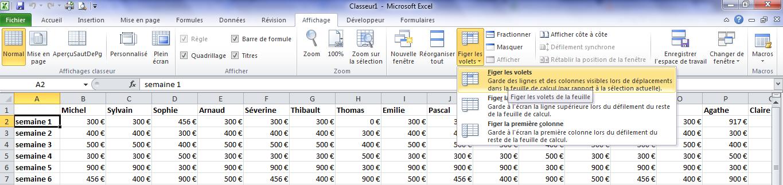 Excel, figer la ligne 1