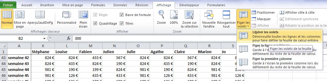 Excel - Libérer les volets