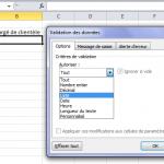 Excel Création d'une liste déroulante