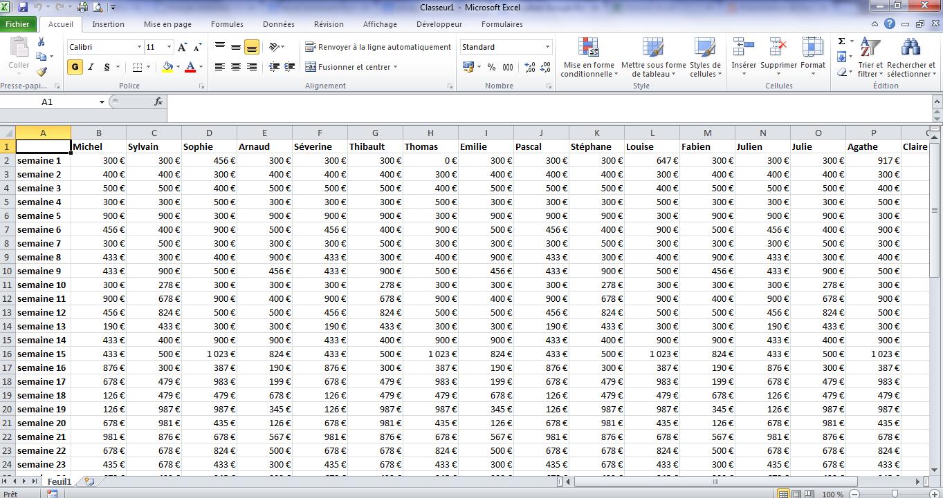 Gros tableau Excel