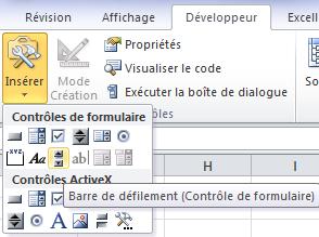 Insérer une barre de défilement sur Excel
