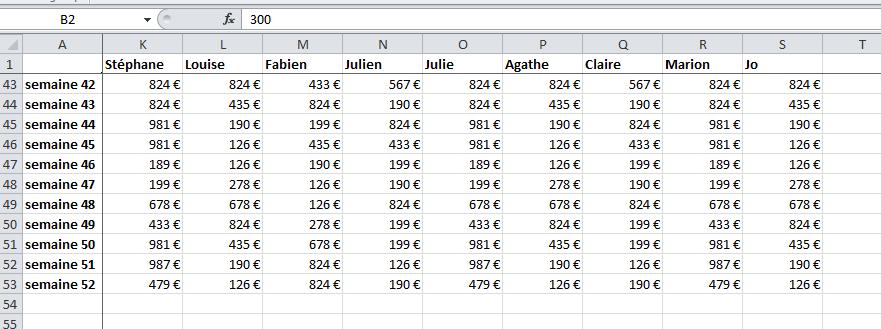 Ligne et colonne figées sur Excel