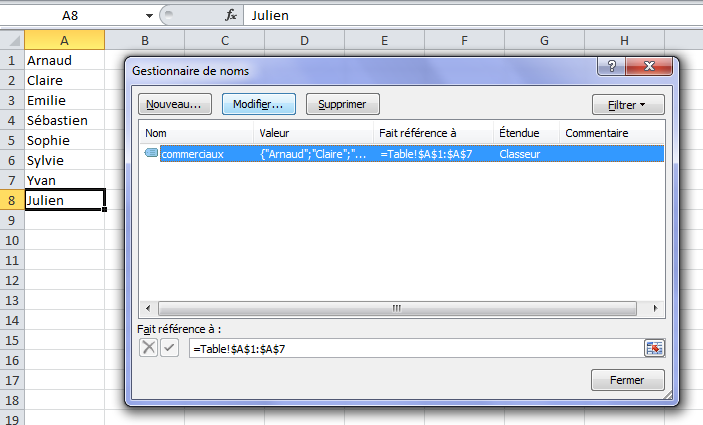 Modifier un nom sur Excel