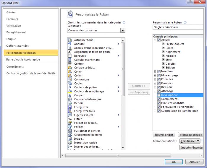 Activation de l'onglet Développeur sur Excel