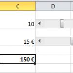 Résultat d'une barre de défilement en place sur Excel