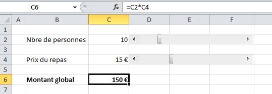 Utilisation de la barre de défilement Excel