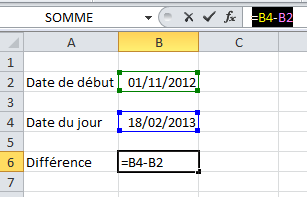 Différence dates Excel