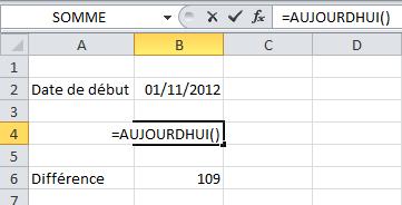 Excel fonction Aujourd'hui