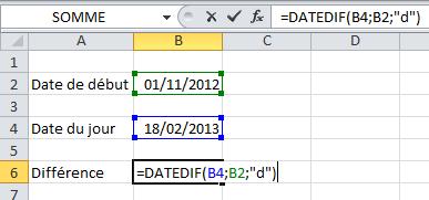 Fonction DATEDIF Excel