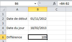 Résultat différence dates Excel