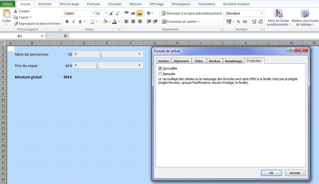 Déverrouiller cellule Excel