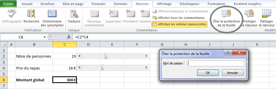 Ôter protection Excel