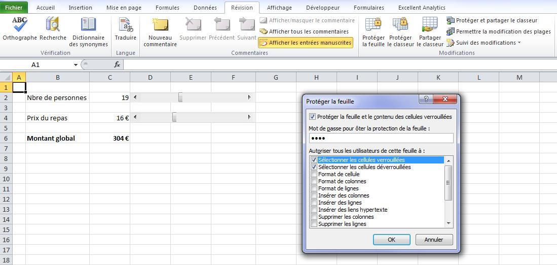 Protéger une feuille sur Excel