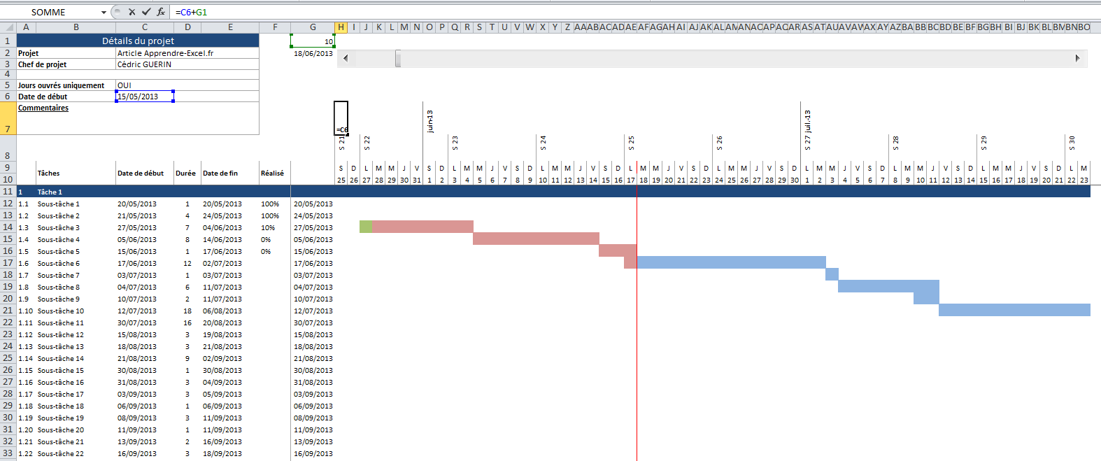 Images: Description:Excellent diagramme de Gantt réalisé par Daniel. Ce fichier est accompagné d'un document Word présentant pas à pas la réalisation du diagramme.