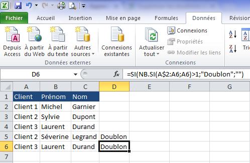 Identifier les doublons sur Excel