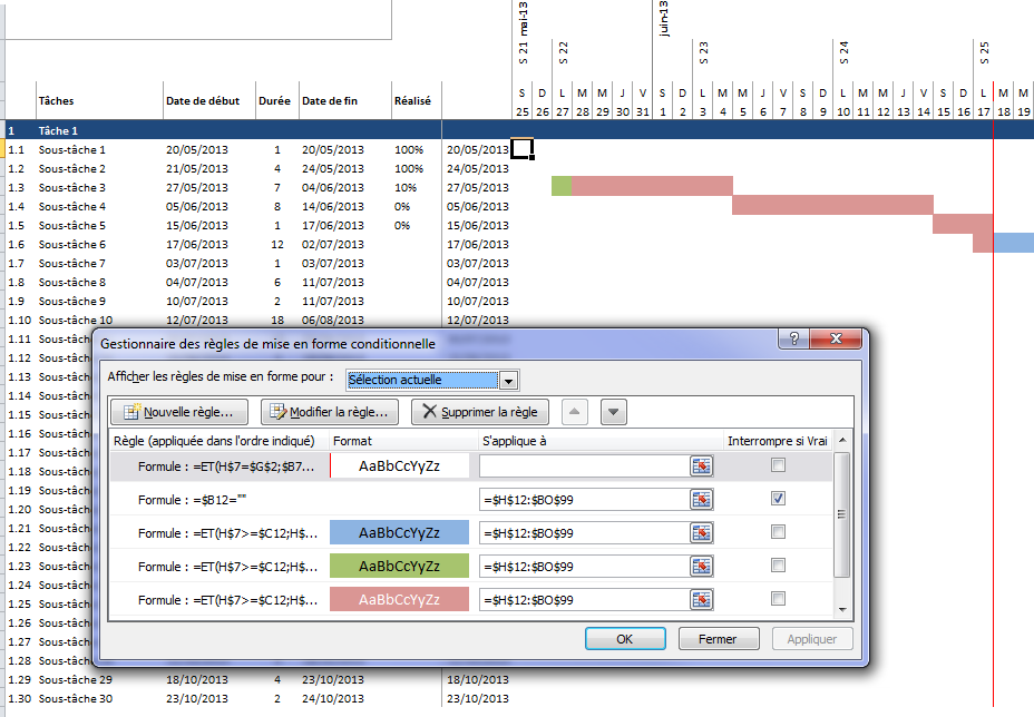 Diagramme de gantt sur excel modle tlcharger mise en forme conditionnelle ccuart Image collections
