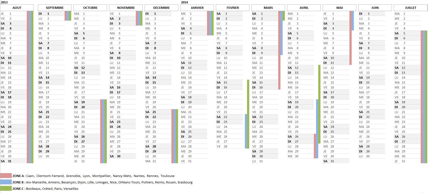 Calendrier scolaire pour l'année 2013-2014