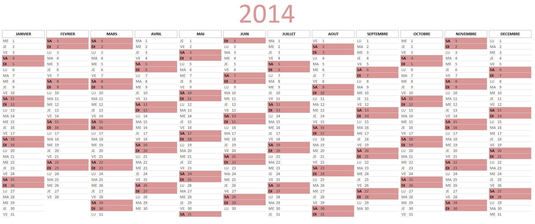 modele planning 2014 excel gratuit
