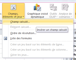 Champ calculé Excel