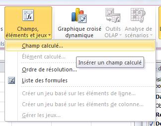 Champ calculé Excel
