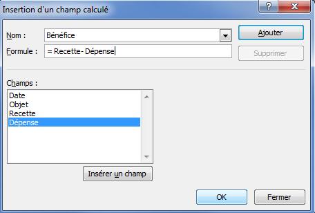 champ calculé paramétrage