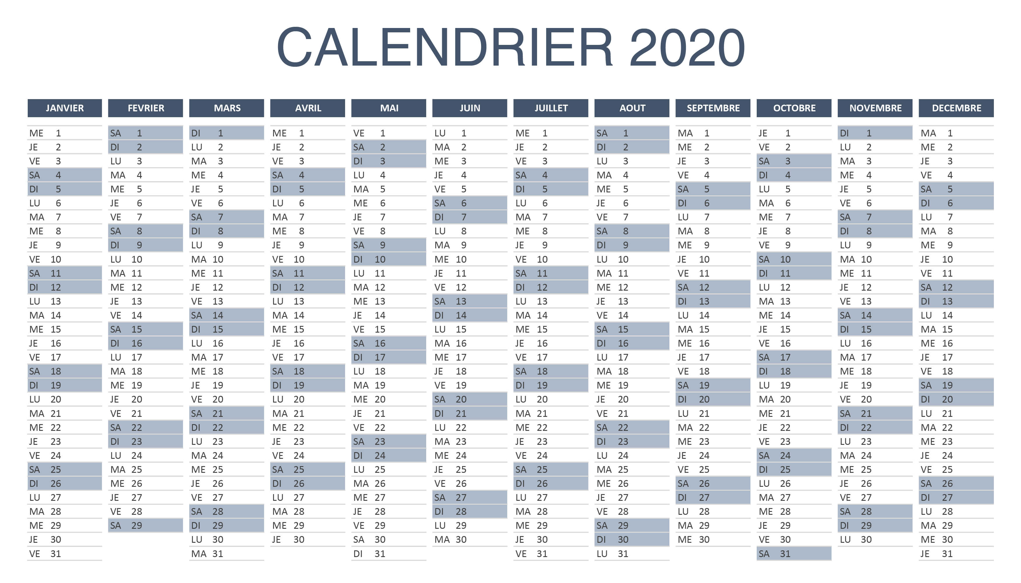 Calendrier Excel 2020.Calendrier 2020 Excel Et Pdf A Telecharger Et Imprimer